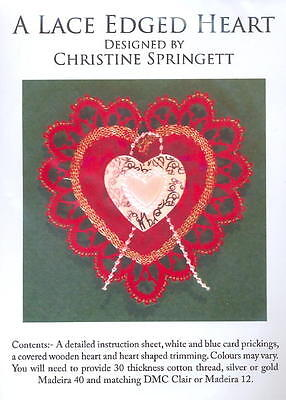 Christmas Decoration: Lace Edged Heart  Green with Red Rose