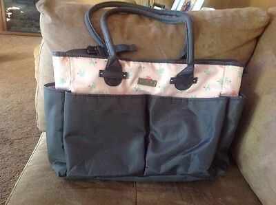 Carter's Baby Everyday Diaper Tote Grey And Pink W/ Birds