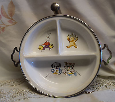 Antique 1930s Child Baby Divided Warming Dish GW Co Germany Pottery Silverplate