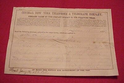 Vintage 1886 Message Form Central New York Telephone & Telegraph Co. Lowville NY