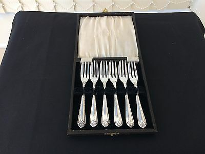 beautiful A1 silver plate cake forks set of six made by rodd