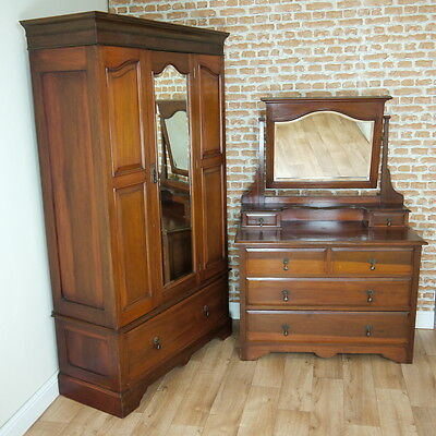 Antique Edwardian Single Mirrored Hanging Wardrobe & Dressing Chest of Drawers