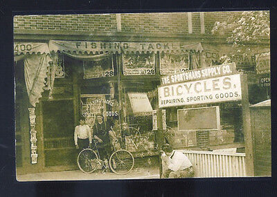 Real Photo South Bend Indiana Bicycle Shop Store Postcard Copy