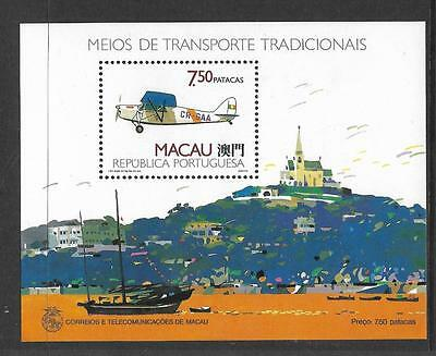 China Macau, 1989, Aircraft, Min Sheet, Sg Ms 706, Mnh, Cat 28 Gbp