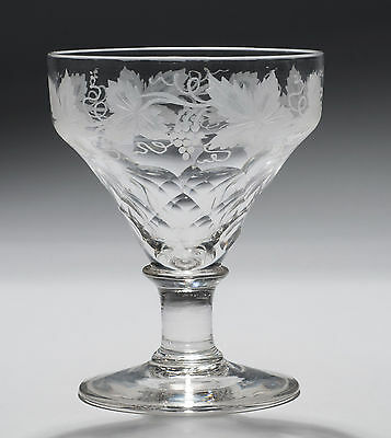 Victorian Antique Scale Cut and Vine Etched Rummer Drinking Glass c1890