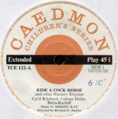 "Boris Karloff ~ Ride A Cock Horse & Other Nursery Rhymes ~ 1958 Uk 7"" Ep Single"