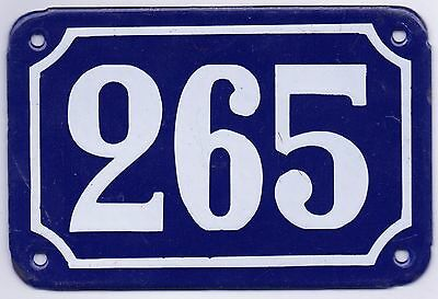 Old blue French house number 265 door gate plate plaque enamel metal sign steel