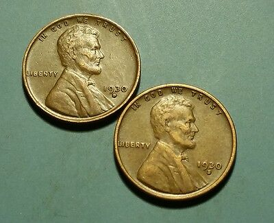 1930 D S  Lincoln Wheat Penny 2 Coin Set #w5850