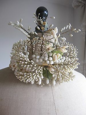 Antique French Wedding Crown Tiara Couronne De Mariée Wax Flowers Wassen Kroon