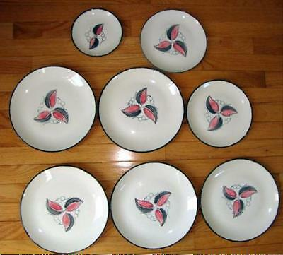 Vintage LOT 8 BLUE RIDGE Wild Cherry SOUTHERN POTTERY pink & gray Plates Dishes