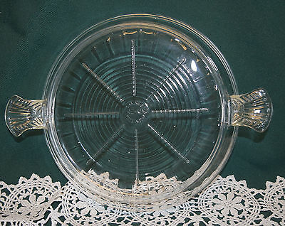 Vintage 1950s Fire King Anchor Hocking Clear Glass Hot Plate Trivet w Handles