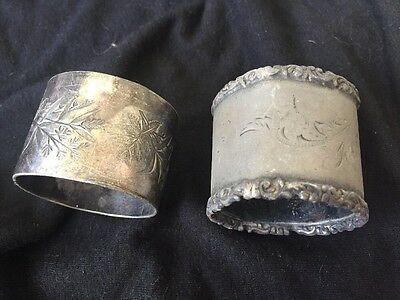 LOT OF 2 Antique Victorian Silver Plate Silver Plate Engraved Napkin Ring