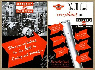 1935 Republic Steel oil well casing tubing photo vintage trade print ad