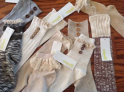 NWT Lot of 24 Women CAPELLI New York Designer Sock Singles For Crafts HIGH END