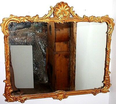 Large Amazing Antique 1920's Heavily Carved Hollywood Regency Gilt Wall Mirror.