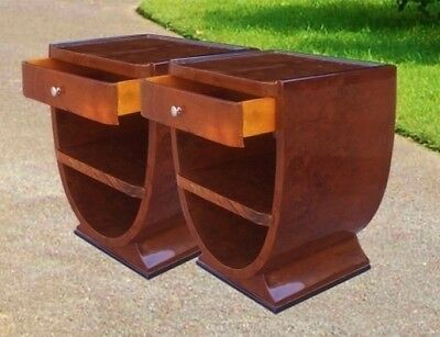 PAIR Art Deco style Burl walnut side tables commodes