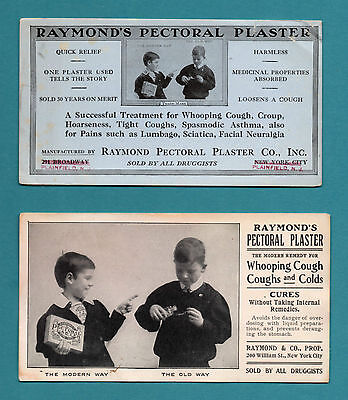 "2 Different RAYMOND'S PECTORAL PLASTER Blotters - 3½""x6½"", 1900/1910, Good Cond"