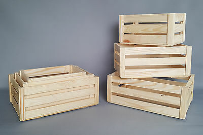 Plain Wood Crate Storage Wooden Box Slatted Crates Craft Decoupage Home Boxes