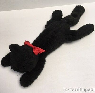 "1981 Charm Co BLACK CAT 18"" Laying Plush Vintage Stuffed Animal Red Bow Bell"