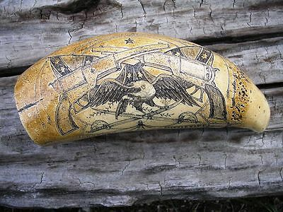 SCRIMSHAW REPLICA RESIN Sperm Whale Tooth Civil War Vicksburg Mississippi