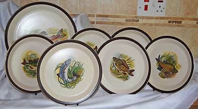 Vintage Doverstone Staffordshire Fish serving platter and 6 plates