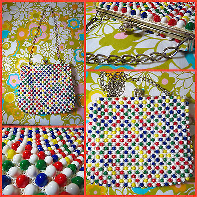 VTG 1960s Retro MOD GoGo Colorful Grandee Bead Plastic Balls & Metal Chain Purse
