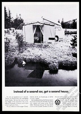 1969 VW Volkswagen Camper bus Campmobile photo Get A Second House print ad