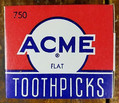 New Old Stock Nos General Store Acme Toothpicks Cardboard Box Full Never Used