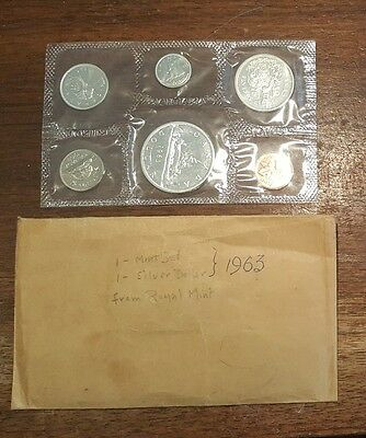 1963 Royal Canadian Uncirculated  Mint  6 coin set, 80% silver + Envelope
