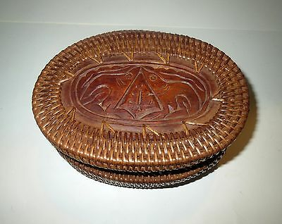 Antique INUIT INDIAN Eskimo Basket - HAND CARVED SEALS - INTRICATE WOVEN