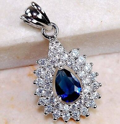 1CT Blue Sapphire & White Topaz 925 Solid Sterling Silver Pendant Jewelry, T1-5