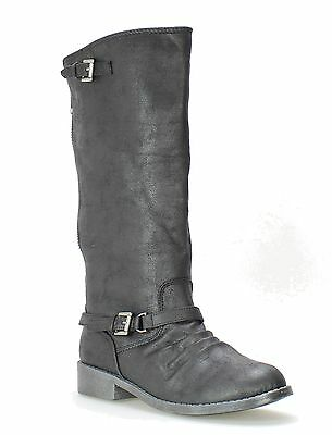 Steve Madden NEW Lailla Black Shoes 5M Knee-High Back Zip Strap Boots $60- #459