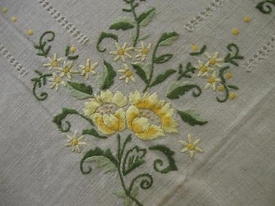 Vintage Antique Crewel Embroidery Tablecloth-67x88-Cut/Drawn Work-Excellent