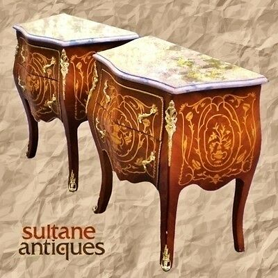 *SUPERB PAIR Louis XV style side table commodes