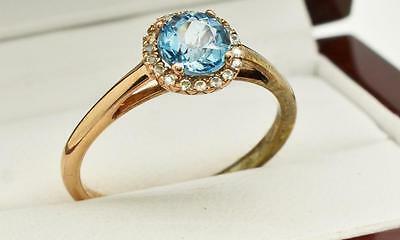 1.00cttw Blue & White Topaz 14K Rose Gold Sterling Silver Halo Ring Size 9