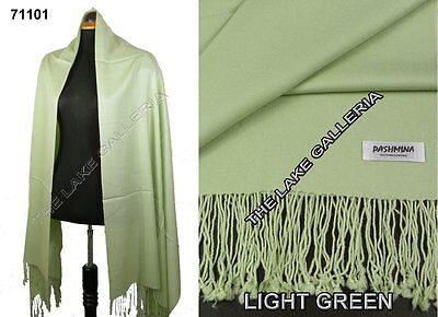 Light Green Classic Soft 100% Real Pashmina Cashmere Wool Shawl Wrap Scarf Solid