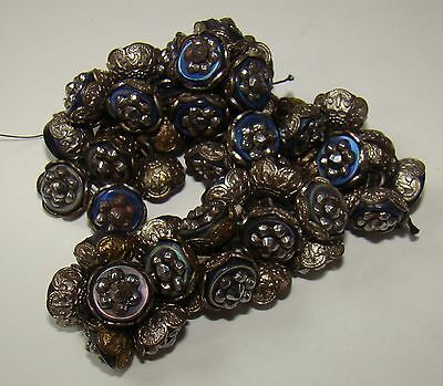 """Antique Buttons 55 Metal openwork Marcasite  & Blue Mother of Pearl 1/2"""" d."""