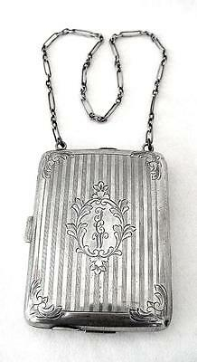 1800s Victorian Sterling Silver Dance Card Automatic Pencil Coin Compact Purse