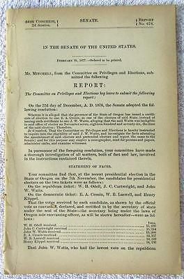 1877 OREGON Presidential Electors Appointment Controversy Eligibility Voting
