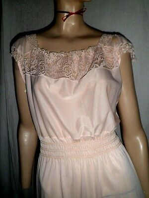 Vintage 50s Pink Peasant Nylon Semi Sheer Negligee Babydoll Lacey Nightgown - M