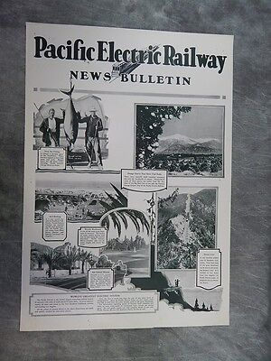 Original 1930's Pacific Electric Railway News Bulletin POSTER