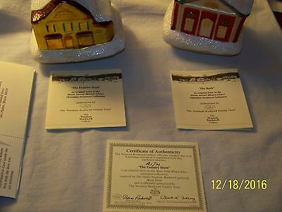 """Norman Rockwell  Gallery """"the Country Store"""" & """"the Bank"""" Blown Glass Ornaments"""