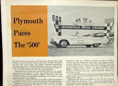 1965 Chrysler Views Magazine Plymouth Sport Fury Indianapolis 500 Pace Car