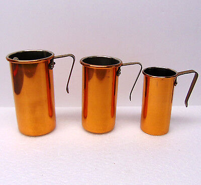 Set 3 Copper-Plated Measuring Cups, Brass Handles, Vintage, ½ Cup, ¾ Cup, 1 Cup