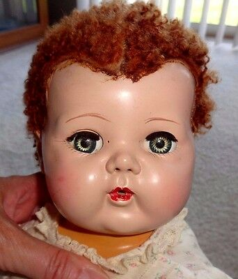 "Vintage American Character Tiny Tears 15"" Doll with Caracul Wig"