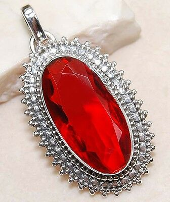 10CT Fire Garnet 925 Solid Sterling Silver Pendant Jewelry, S15-2