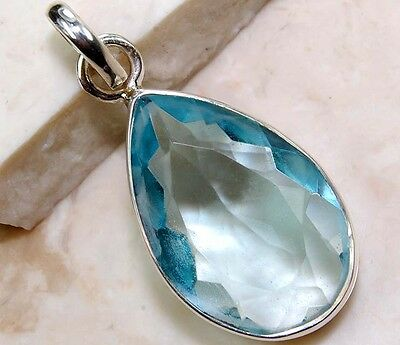 10CT Flawless Blue Topaz 925 Solid Sterling Silver Pendant Jewelry, S5-3