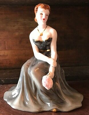 Norcrest Formal Lady Woman Figurine Vtg China Evening Gown Gray Dress Label