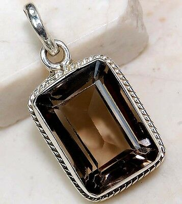 6CT Smoky Topaz 925 Solid Genuine Sterling Silver Pendant Jewelry, S15-4