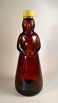 "VINTAGE MRS.BUTTERWORTH AUNT JEMIMA BROWN GLASS SYRUP BOTTLE with CAP 10"" tall"